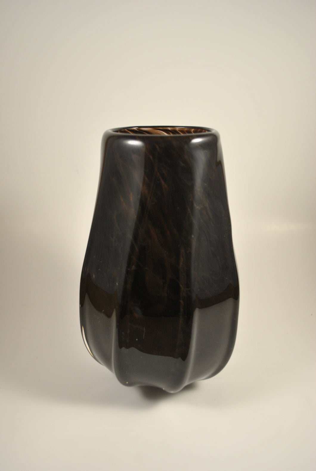 Black Ribbed Vase