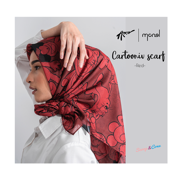Cartoonniv Scarf Red