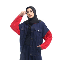 Denim Red Sleeves Jacket
