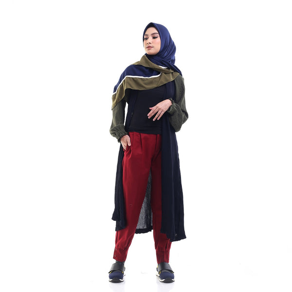Pleated Two-Tones Outer Navy