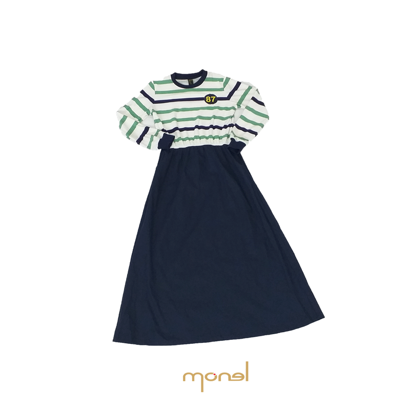 Yara Dress Green Navy Stripe
