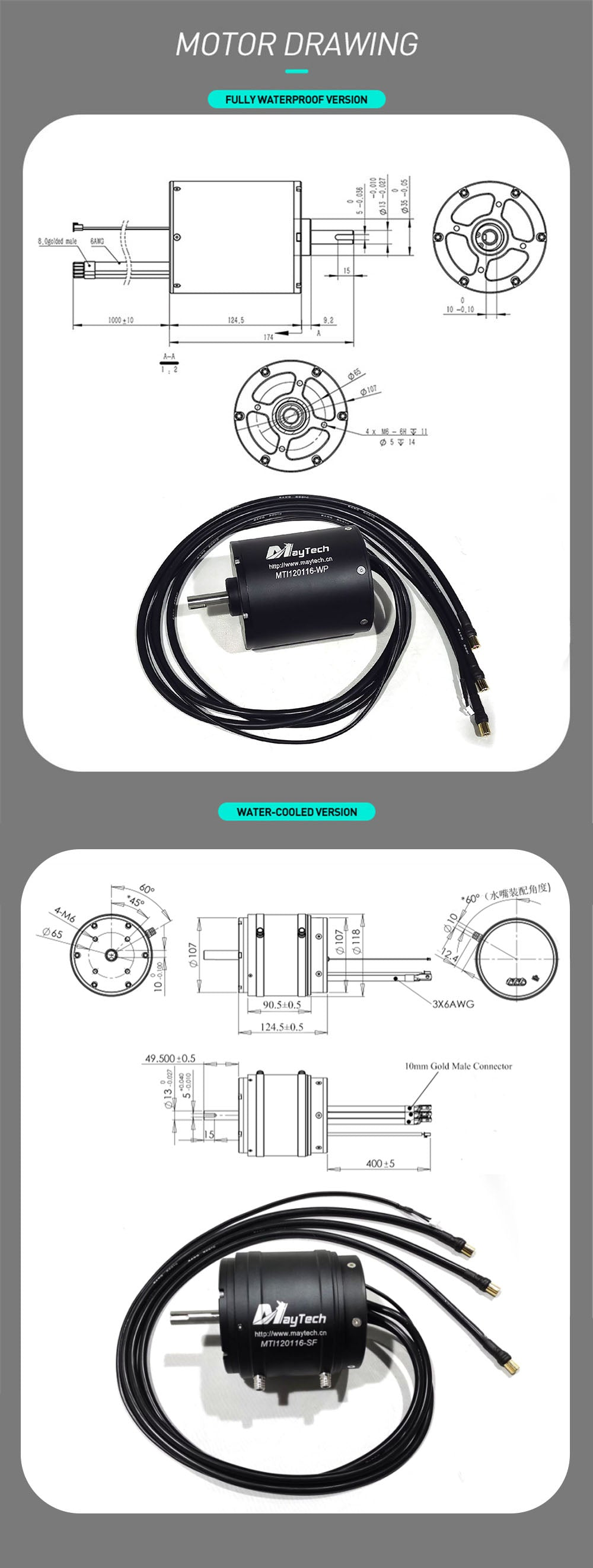 Maytech Fully Waterproof MTI120116 18.8KW Powerful Brushless Inrunner Motor for Electric Surfboard/RC Boat/Jetski