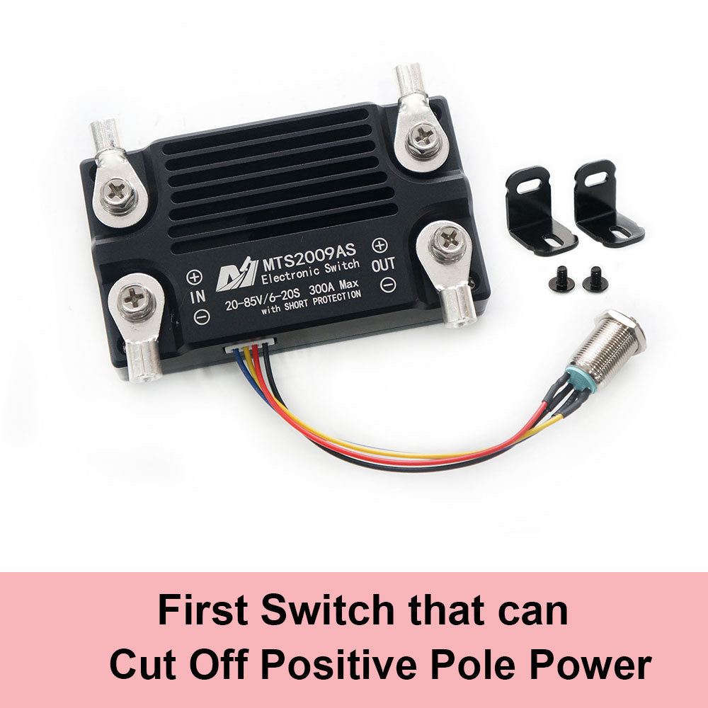 First Switch that can cut off positive pole power in the market;  Switch comes with LED light indicator; Shutdown current less than 1uA; Suitable for load: three phase motor speed controller; Boot soft start; Automatic short circuit protection when boot; Automatic short circuit protection when work.