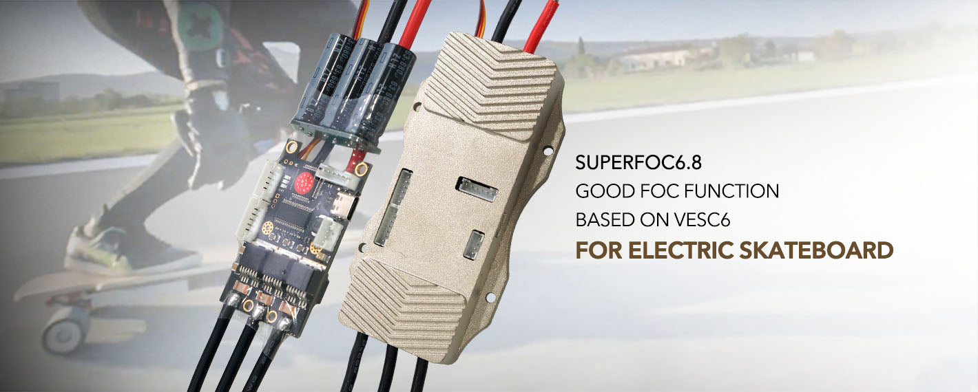 maytech electric speed controller SUPERFOC6.8 50A VESC6.0 based controller dual vesc super ESC for electric skateboard OEM skateboard, eboard, electric skateboard propulsion configuration, motorcycle, torqueboards, heat pump control board, advanced electric skateboard , 100% Eco-Friendly, Wireless Control, Rapid Charging, All Terrain, direct drive electric skateboard , speed boards, cruiser board, hybrid board, electric skateboarding , electric skate, hybrid skateboarding, commercial belt driven boards, wood skateboard, Synthetic, compound, belt-driven motor skateboard, hub motor drived skateboard,  Hill climb skateboard, powerful skateboard, Electric motorcycle, parking system,  ROV, printing device, drone, multi-copter,  multi-rotor, helicopter, airplace, rc fight, rc airplane, rc drone, rc car, motorcross bike Giant robot, Giant Mech Battle, robotic combat and competition, robotic competition, competition robotics,  Robots fight, Robots fighting, Robotic Combat Competition, Robot battles, Combat robotics, Robot weapon,  110kg Weight class, 15kg Weight class, radio control,  Robotics combat,  DIY Robotic Kits, Fighting Robot Kits, Robot Kits, Lightweight Combat Robot Kit, Battlekit, Mini-Sumo Robot Kit, Vertical Spinner robots, heavyweight Robot Wars fighting machine, battle robot kit, rc robot battle, robot war, heavyweight robots, featherweight robots,