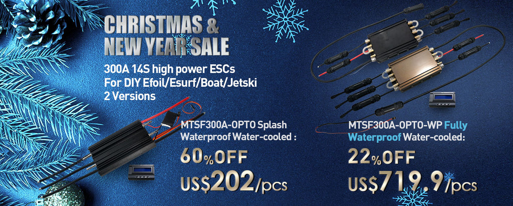 MTSF300A-OPTO-WP fully waterproof 300A ESC internal receiver and UBEC 75V to 5V UBEC electric speed controller 300A for motorized surfboard esurf efoil foilsurf foil boat jet ski jetboard jetfoiler underwater sports marine sports watersports controller