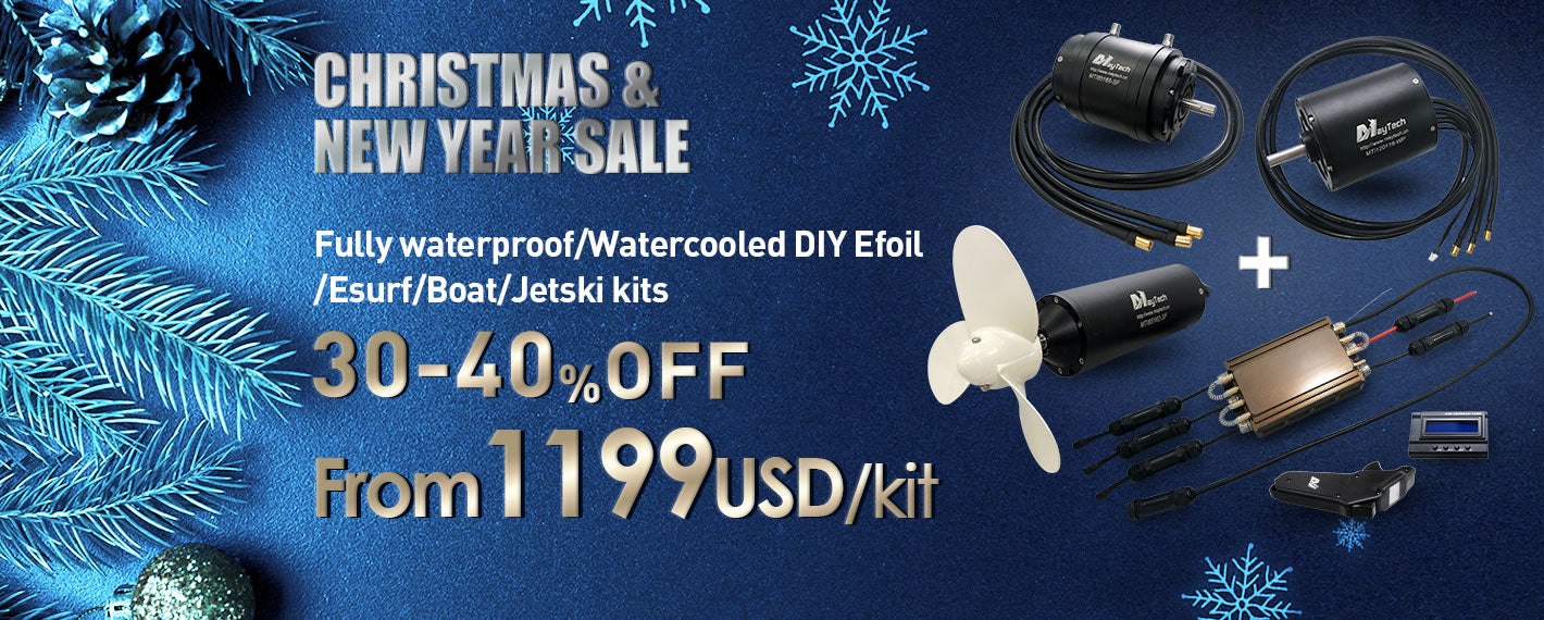 Maytech fully waterproof efoil/esurf/boat kit with brushless inrunner motor MTI65162 MTI85165 MTI120116 18.8KW brushless inrunner sensorless motor powerful for electric surfboard V2 Fully waterproof remote MTSKR1905WF hand remote MTSF300A-OPTO-WP Fully waterproof speed controller internal UBEC and receiver water-cooled electric boat electric system speed boat foilboard jetski jetfoil jetsurf