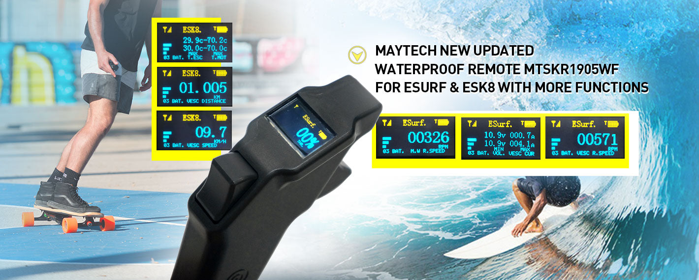 Maytech MTSKR1905WF V2 IP67 Waterproof Remote Control 2.4GHz wireless hand remote compatible with VESC for Esk8 Esurf Efoil Hydrofoil RC Boat