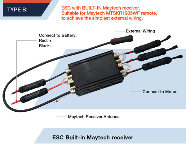 Maytech Fully Waterproof ESC with internal receiver and UBEC 100% waterproof cable aluminum case
