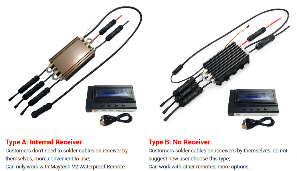 Maytech Fully Waterproof 300A ESC with Water Cooling Internal UBEC With Receiver Speed Controller for Esurf/RC Boat