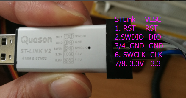 Maytech STlink update firmware for electric speed controller MTVESC50A