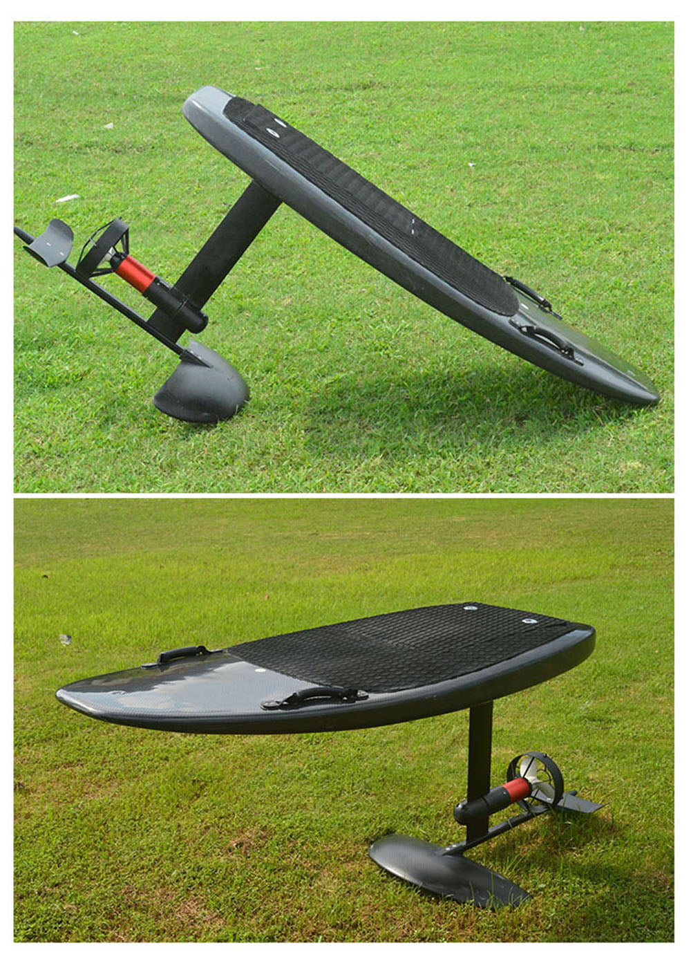 """Electric hydrofoil is similar to surfboards and is a kind of water sports products. In the past, the hydrofoil was lifted by kite or human paddling. The biggest feature of the electric hydrofoil is its own power system. The hydrofoil can be powered by a handheld remote control. It can move at a maximum speed of 40 kilometers per hour. When a certain speed is reached, the surfboard will automatically rise, and keep balance. It is a brand new marine sports product.</strong></div> <div style=""""padding-left: 30px;""""><strong>The appearance is simple, the board body is made of carbon fiber structure, and the line is full. It does not require super-high surfing skills, and beginners can easily master it. There is no need to use a boat to tow, as long as there is water, you can play~ Different from all water sports you have seen before, it can let you free yourself and enjoy yourself!"""