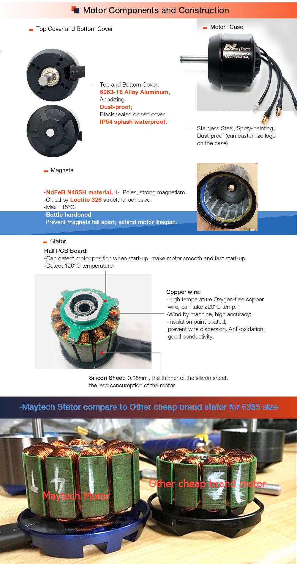 """Electric propulsion drive system Vehicle Maytech brushless closed cover outrunner motors are specially designed for electric skateboard. The motors come with low KV, high torque and efficiency.</div> <div style=""""padding-left: 30px;"""">All parts are made of a high-precision CNC machining center, and all surfaces are made with oxidation treatment. High temperatu"""