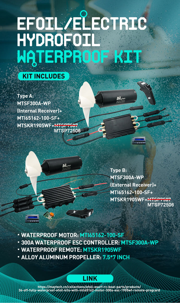 Model No. MTI65162-SF KV 100 Max Current 300A Input Volt 6-20S Lipo Max Output Watt 9800W Max Torque 10N.m Rated Power 8900W Propeller 7.5*7 inch Propeller Material Alloy Aluminum Idle Current @8.4V No-load: 1.5A Sensor Without Motor Cable Length 1m Motor Cable Connector 8WG AMASS Gold Plated Connector Application Efoil/Hydrofoil/Esurf, etc.,