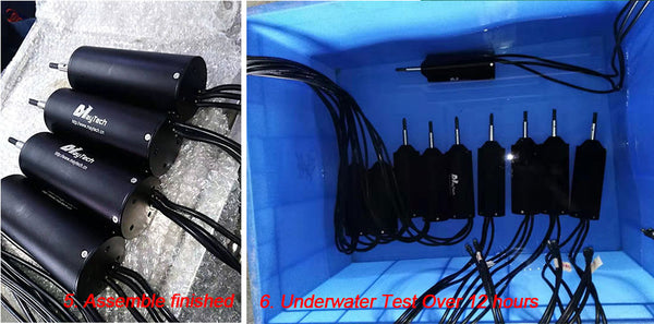 fully waterproof test underwater test for the MTI65162 motor for electric surfboard hydrofoil