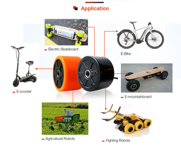Maytech 9055 hub motor 90mm for electric skateboard Elongboard Stret skateboard city skateboard orange tyre outrunner sensored motor