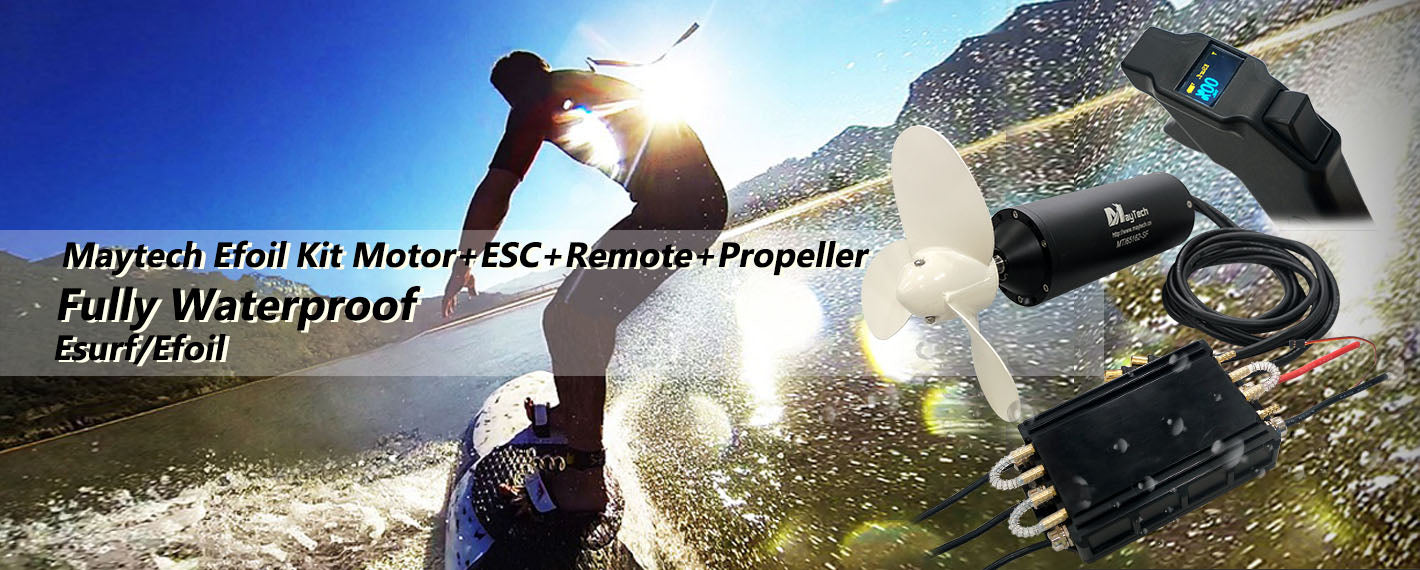 Maytech fully waterproof efoil kit MTI65162 100KV motor V2 Fully waterpoof MTSKR1905WF hand remote controller MTSF300A-OPTO-WP 300A ESC 100% waterproof electric speed controller powered jetski jetsurf electric hydrofoil