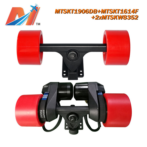 maytech electric skateboard kit 5055 brushless dc motor dual belt driven motor for beginner with front and rear truck pulley belt system e-skateboard esk8 comb