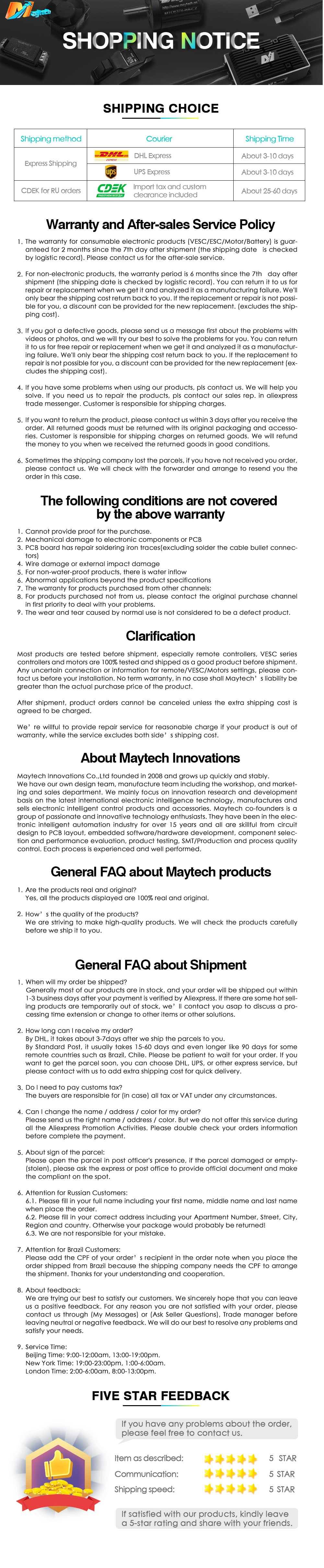 Maytech shipping and warranty