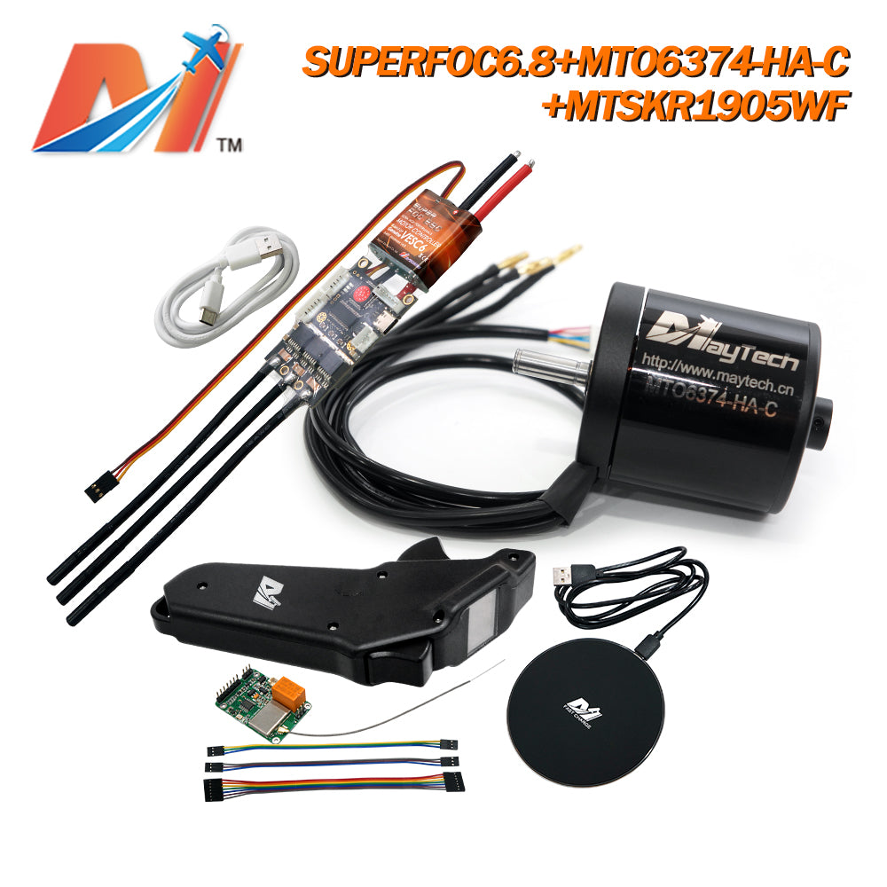 Maytech MTSKR1905WF+SUPERFOC6.8+6355/6365/6374/6880 Motor Esk8/Robots Kits Fully Waterproof Remote