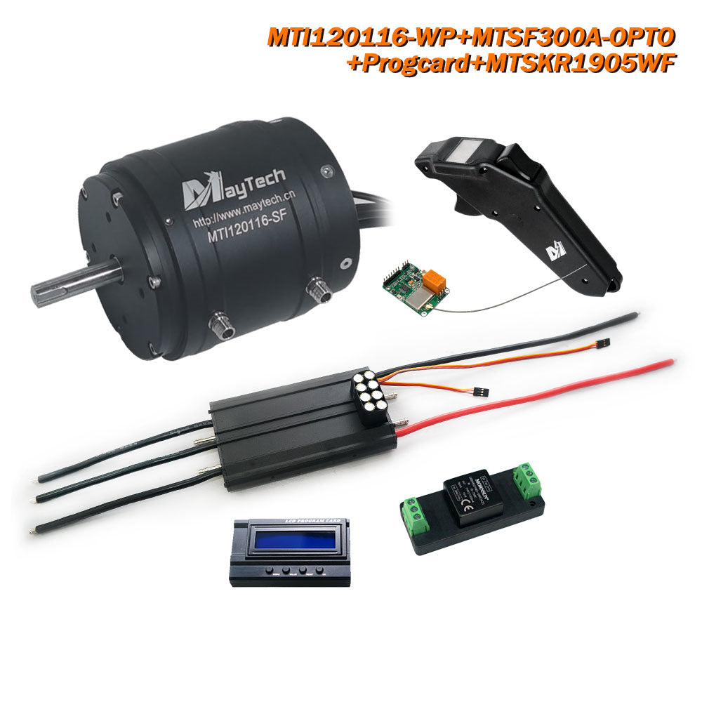 Maytech Esurf Efoil Kit with 18.8KW Waterproof / Watercooled 120116 Motor + Watercooed 300A ESC with Progcard UBEC + MTSKR1905WF IP67 Waterproof Remote+ Water Pump+ 300A 80V Antispark Switch