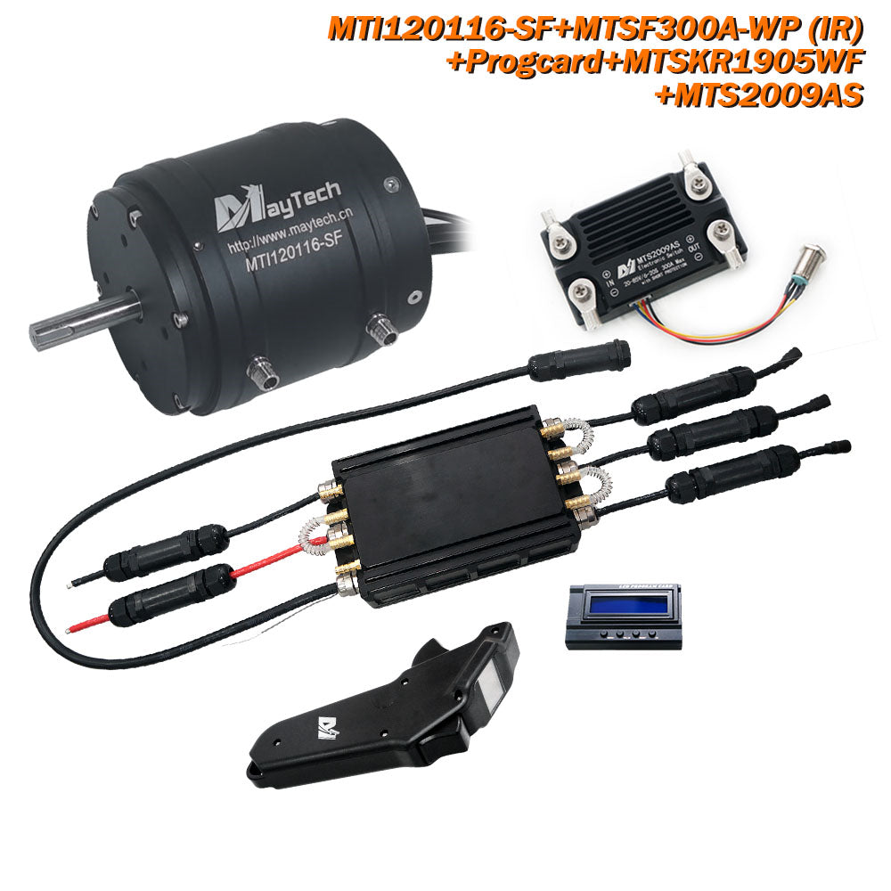 Maytech Watercooled 120116 Motor + 58V 300A ESC + MTSKR1905WF Remote + 12V 30W Water Pump Set + MTS2009AS 300A 80V Anti-spark Switch for Motorized Jetboard/ Kayak/ RC Boat