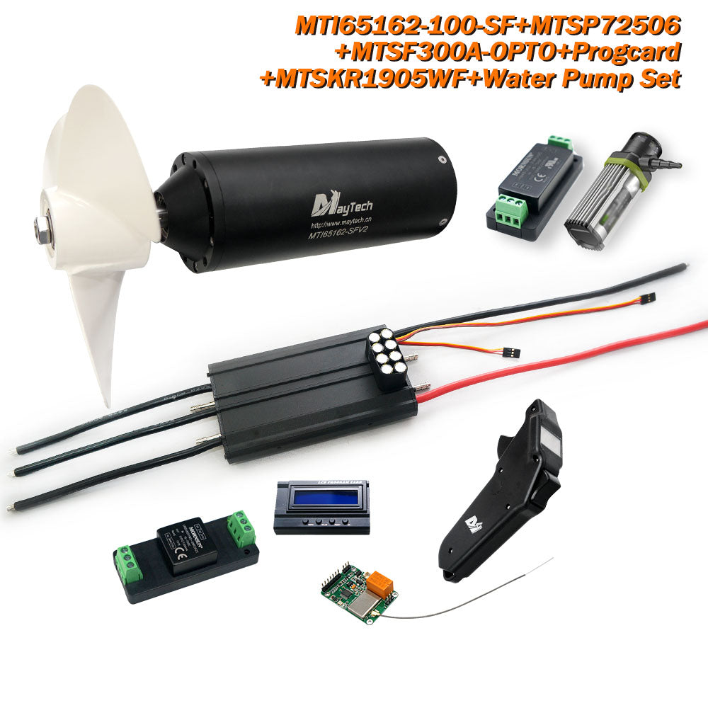 Maytech Efoil Kit Fully Waterproof 65162 Motor MTSKR1905WF remote with Watercooled 300A ESC 12V 30W Water Pump and 300A 80V Antispark Switch