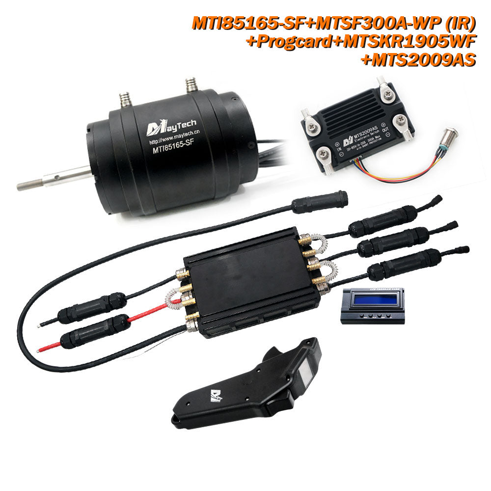 Maytech Waterproof Water Cooling Efoil/Esurf/Boat Kit MTI85165 Motor+MTSF300A ESC+MTSKR1905WF Remote + 300A 80V Anti-Spark Switch + Water Pump