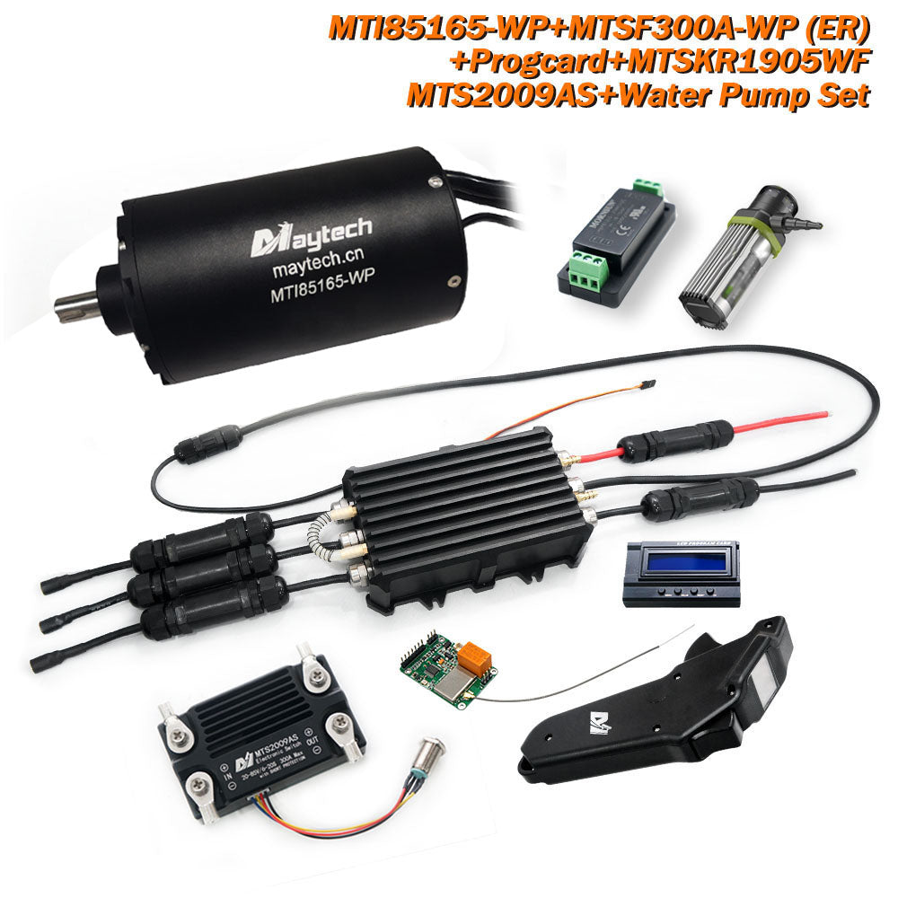 Maytech Waterproof Efoil/Esurf/Boat Kit 85165 Motor+300A Waterproof ESC Controller +MTSKR1905WF Remote + 300A 80V Anti-Spark Switch + Water Pump