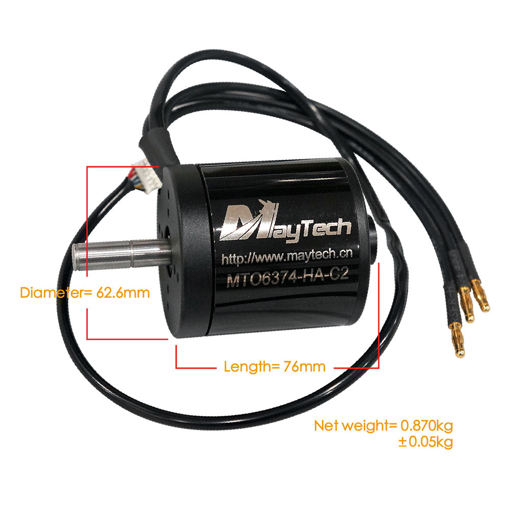 Maytech Brushless 6374 170/190KV Closed Cover Sensored Motor 10mm Shaft for Esk8/E-bike