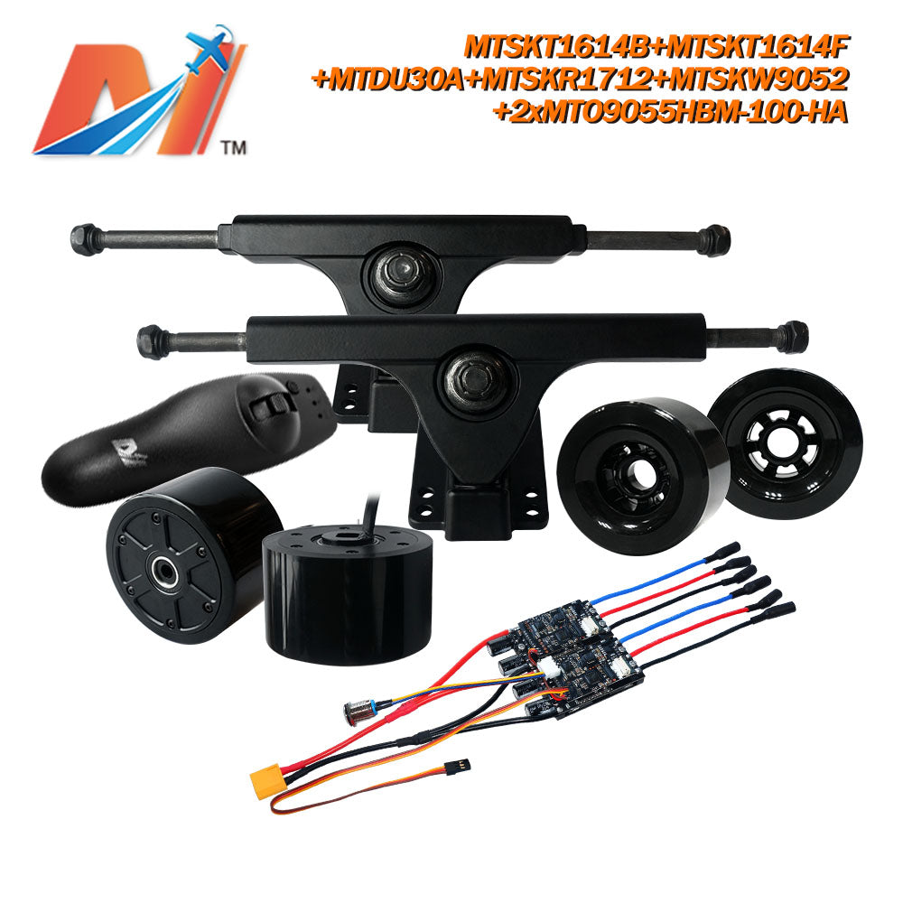 Maytech Dual 90mm Hub Motor+MTDU30A+Front and Rear Truck Set+MTSKR1712 remote+Wheels kit for Electric Skateboard