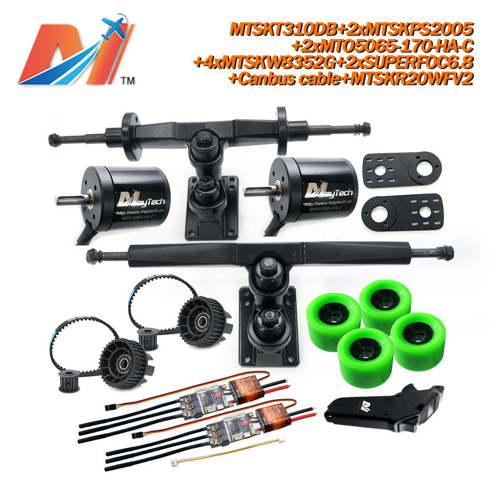 Maytech Electric Skateboard Kit 2x Sealed/Unsealed 5065 Motor + 2x SUPERFOC6.8 VESC + MTSKR2005WF Waterproof Esk8 Remote with Truck Pulley 8352 Wheels