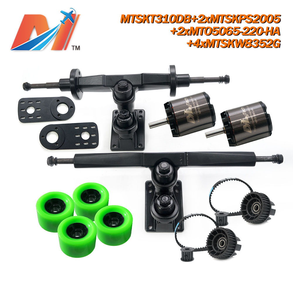 Maytech Electric Skateboard Kit with 2pcs 5065 Sealed/ Unsealed Motor + 2x MTSKPS2005 Pulley Belt System + MTSKT310DB Front & Rear Truck Set + 4pcs 8352 Wheels for Esk8 Elongboard