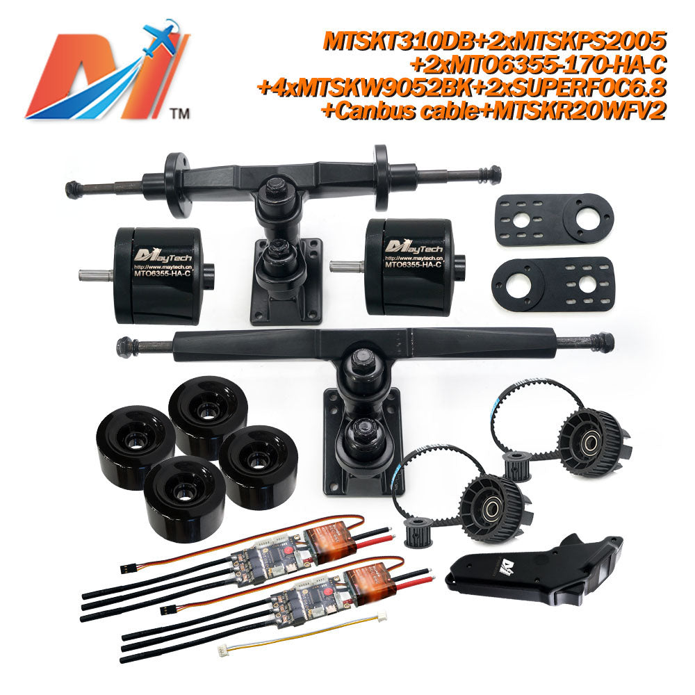 Maytech Electric Skateboard Kit 2x Sealed 6355 6365 6374 Motor + 2x SUPERFOC6.8 VESC+MTSKR2005WF Waterproof Esk8 Remote with Truck Pulley 9052 Wheels