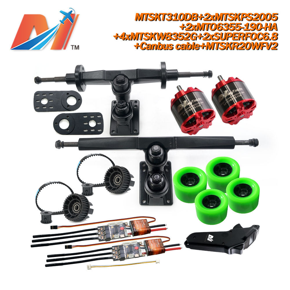 Maytech Electric Skateboard Kit 2x Unsealed 6355 6365 6374 Motor + 2x SUPERFOC6.8 VESC+MTSKR2005WF Waterproof Esk8 Remote with Truck Pulley 8352 Wheels