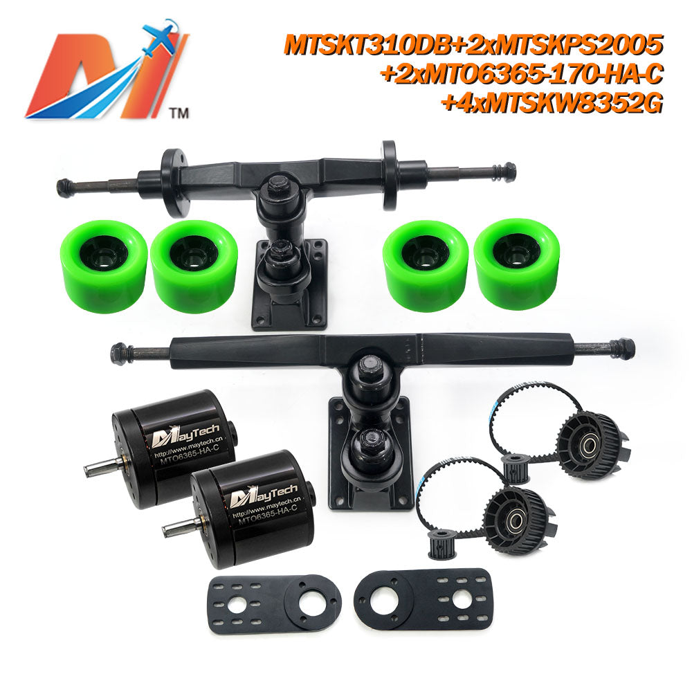 Maytech Electric Skateboard Kit with 2x Sealed 6355 6365 6374 Motor + MTSKT310DB Front & Rear Truck + 4x Green 8352 Wheels + 2x MTSKPS2005 Pulley Belt System for Esk8 Elongboard