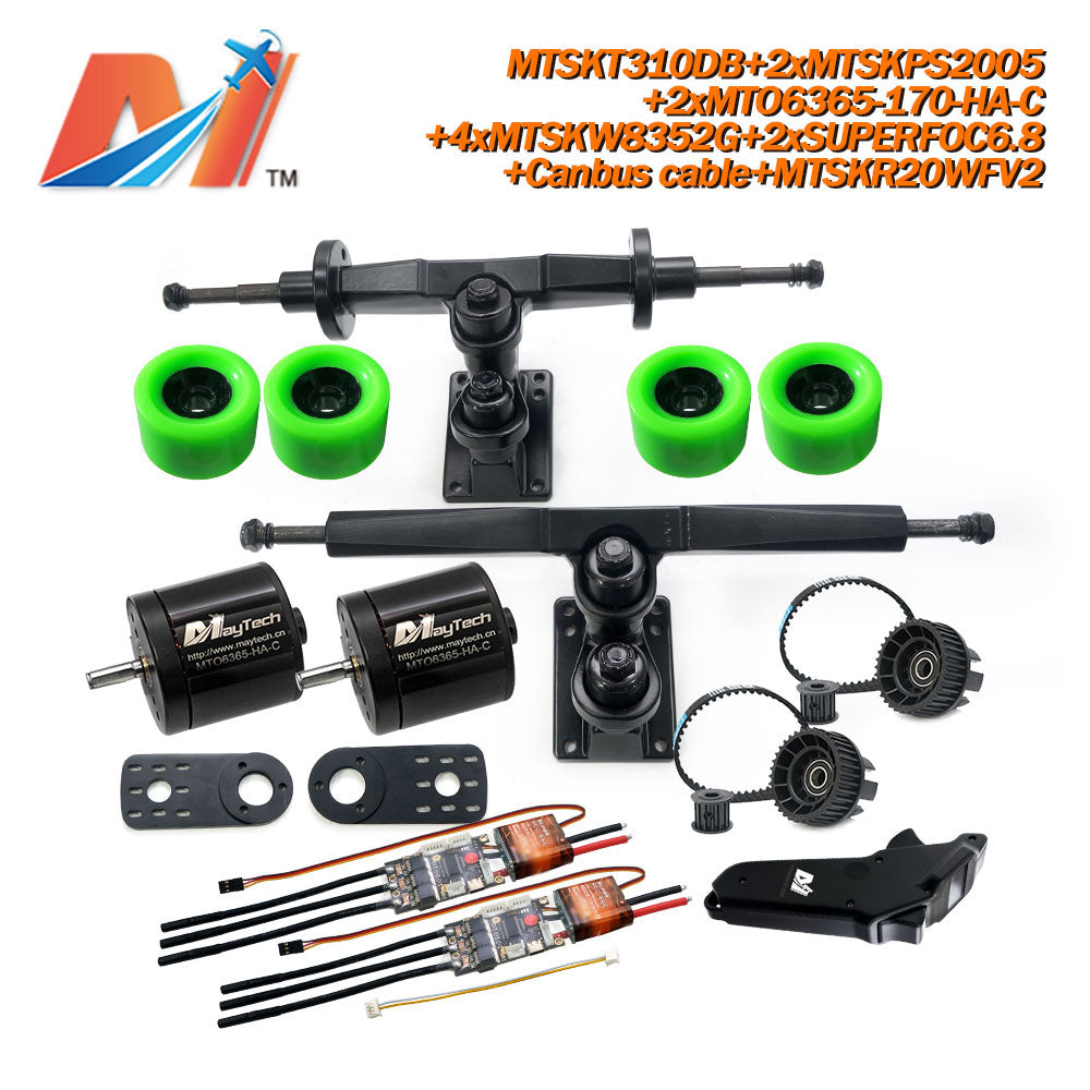 Maytech Electric Skateboard Kit 2x Sealed 6355 6365 6374 Motor + 2x SUPERFOC6.8 VESC+MTSKR2005WF Waterproof Esk8 Remote with Truck Pulley 8352 Wheels