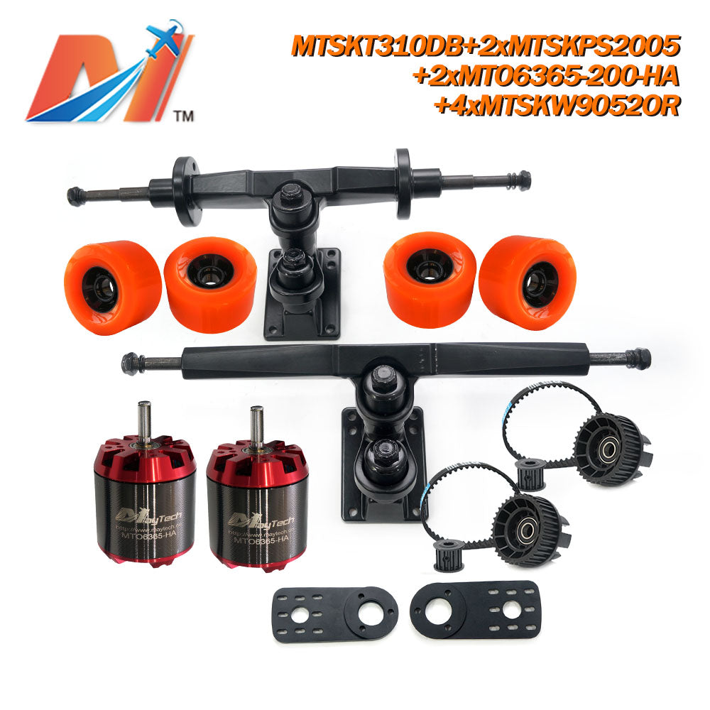 Maytech Dual Motor Drive Electric Skateboard Kit with 2x Unsealed 6355 6365 6374 Motor + MTSKT310DB Front & Rear Truck + 4x 9052 Green Wheel + 2x MTSKPS2005 Pulley Belt System for Esk8 Elongboard