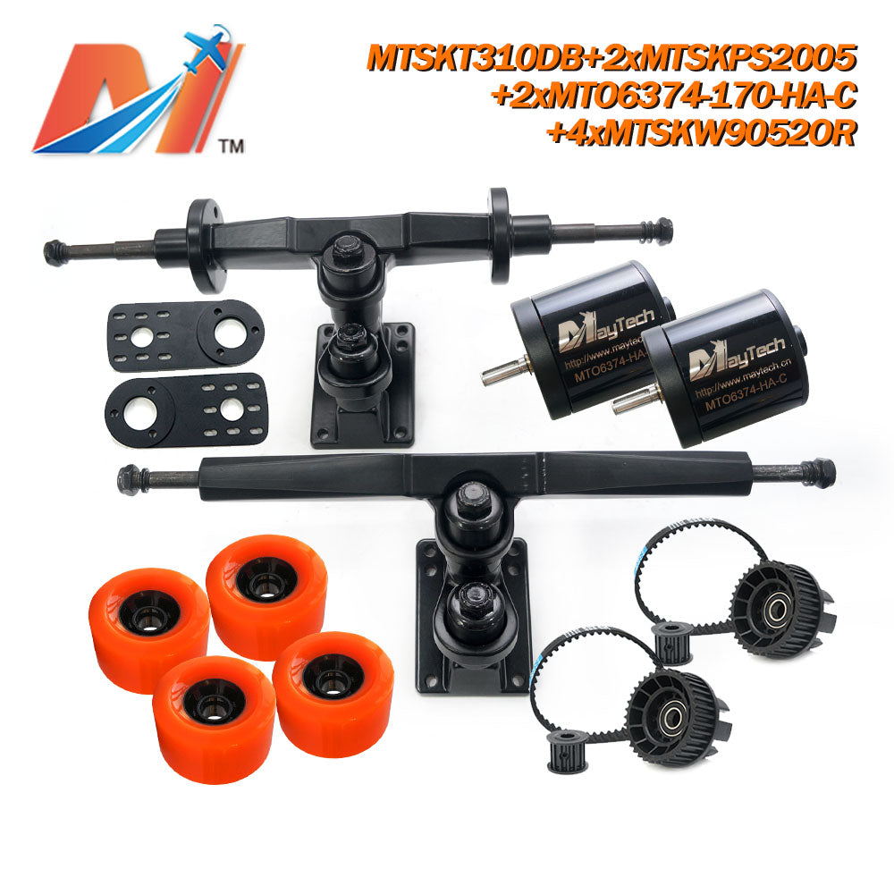 Maytech Electric Skateboard Kit with 2x Sealed 6355 6365 6374 Motor + MTSKT310DB Front & Rear Truck + 4x 9052 Wheels + 2x MTSKPS2005 Pulley Belt System for Esk8 Elongboard