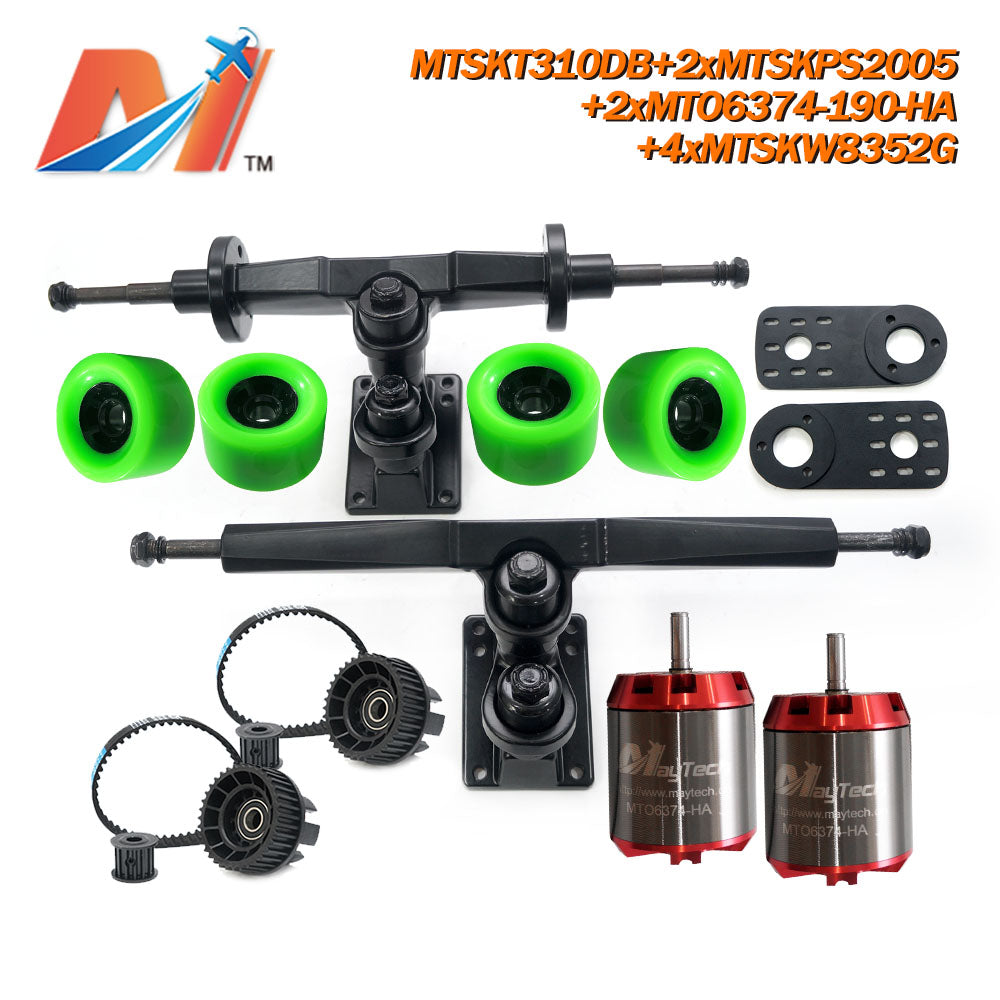 Maytech Electric Skateboard Kit with 2x Unsealed 6355 6365 6374 Motor + MTSKT310DB Front & Rear Truck + 4x MTSKW8352 Green Wheel + 2x MTSKPS2005 Pulley Belt System for Esk8 Elongboard