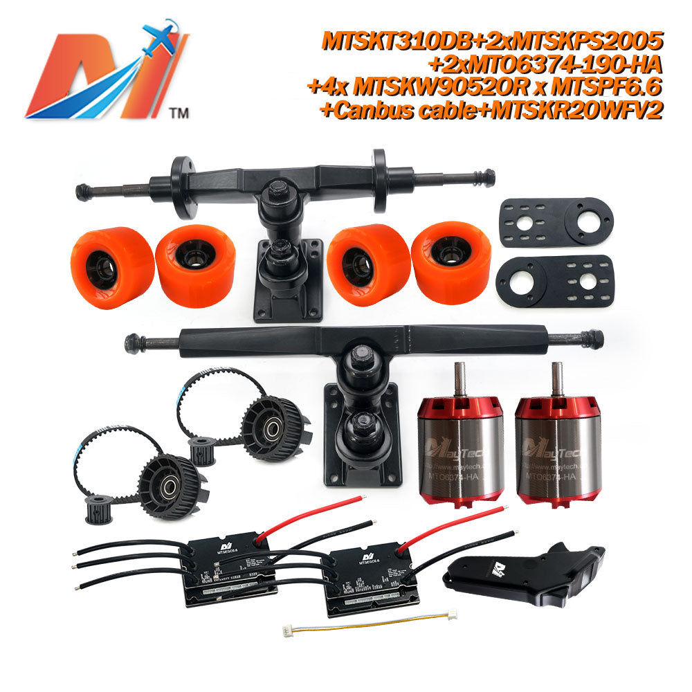 Maytech Electric Skateboard Kit 2x Unsealed 6355 6365 6374 Motor + 2x 200A VESC+MTSKR2005WF Waterproof Esk8 Remote with Truck Pulley 9052 Wheels