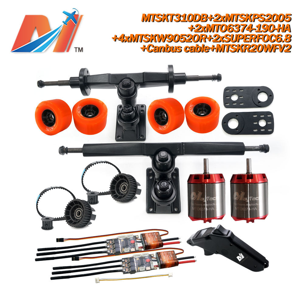 Maytech Electric Skateboard Kit 2x Unsealed 6355 6365 6374 Motor + 2x SUPERFOC6.8 VESC+MTSKR2005WF Waterproof Esk8 Remote with Truck Pulley 9052 Wheels