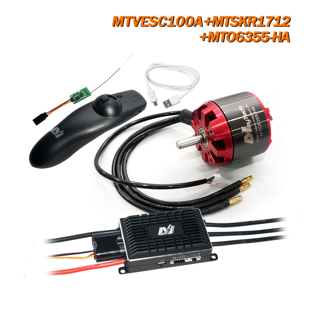 Maytech VESC100A + MSKR1712 Remote + 6355/6365/6374 Motor Open Cover/Sealed Cover Motor for Esk8/Fighting Robots