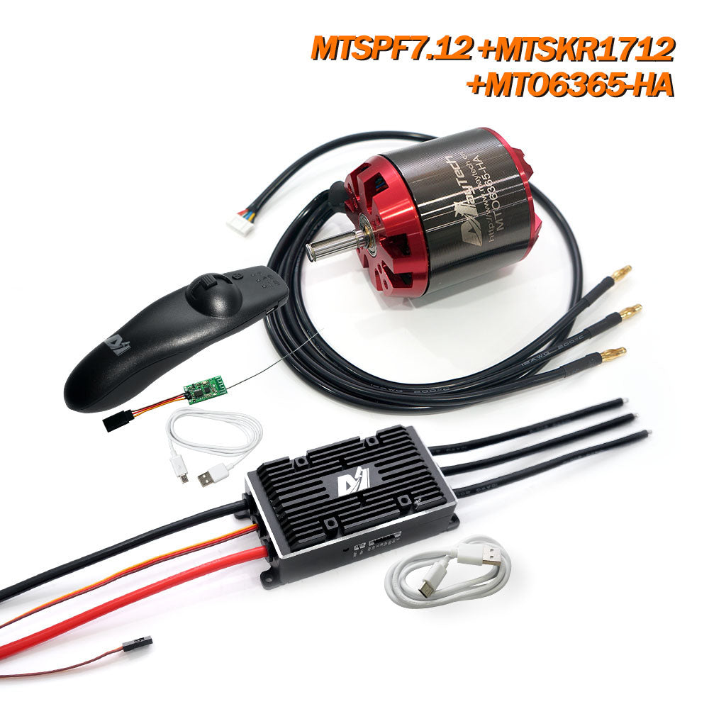 Maytech V2 200A MTVESC6.12 Speed Controller + MTSKR1712 Remote + 6355/6365/6374 Brushless Outrunner Sensored Motor for Esk8/Fighting Robots