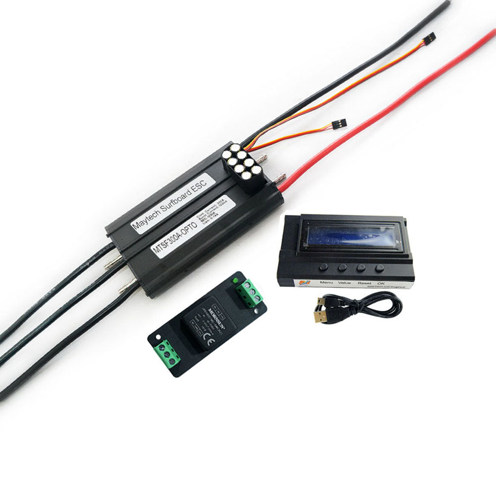 Maytech Esurf Efoil Kit with Waterproof / Watercooled 85165 Motor + Watercooled 300A ESC with Progcard UBEC + MTSKR1905WF IP67 Waterproof Remote With 12V Water Pump Set 300A 80V Anti-spark Switch