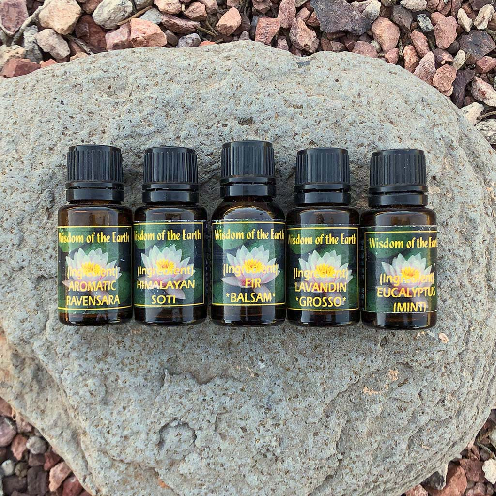 Kid friendly Immune System Support Essential Oil Collection includes 15ml bottles of Wisdom of the Earth Ravensara essential oil, Himalayan Soti essential oil, Fir balsam essential oil, Lavindin Grosso essential oil, and Eucalytus Mint Essential Oil.