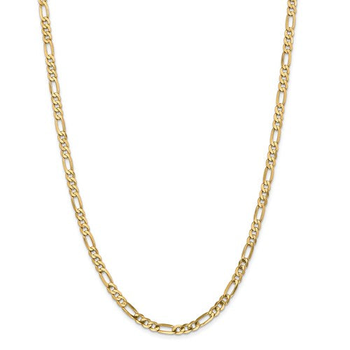 14k Yellow Gold Beveled Flat Figaro Chain