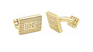 14k Yellow Gold-Plated Sterling Silver 13 x 18 mm 3-Letter Serif Monogram Cuff Links