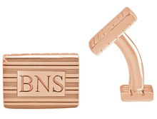 Load image into Gallery viewer, 14k Yellow Gold-Plated Sterling Silver 13 x 18 mm 3-Letter Serif Monogram Cuff Links