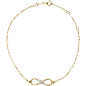 14k Yellow Gold Diamond Infinity Anklet