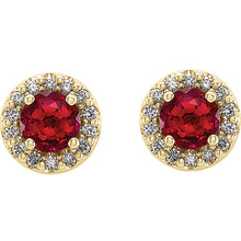 Load image into Gallery viewer, 14k Yellow Gold Ruby & Diamond Halo Earrings